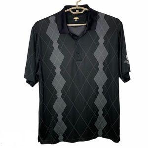 GREG NORMAN Black Plaid Polo Golf Shirt Aruba XL